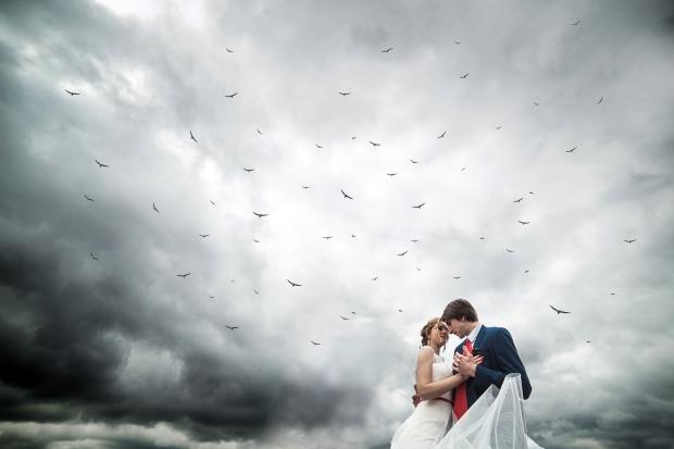 Couple on a sea pier