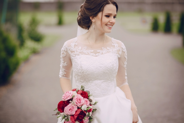 bride poses for a photo